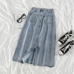 moyen et long jean A LINE JUPE Pantalons et pantalons nouvelle petite fente taille haute femmes jupe robe de ligne A-