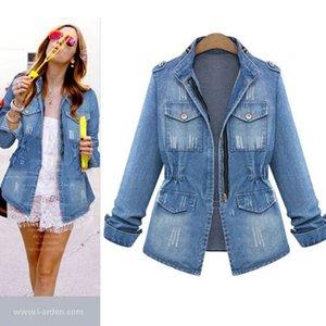 Womens Blue Denim Jacket Turn-down Collar Chain Jeans Jacket Pocket Coat Oversize Coats Jeans Jackets Women Outerwear Coats 2020