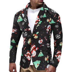 Mens Christmas Snowman Candy Printed Casual Blazers Jackets Coats Contrast Color Slin Fit Male Fashion Tops