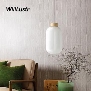 Suspensión creativa linterna lámpara colgante de cristal blanca Nordic Light Hotel Restaurante Comedor de noche Loft de madera de iluminación de estar