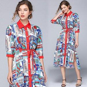 2020 Spring New Arrivals Fashion Party Dresses Print Short Sleeve Dress Female Pleated Dress for Women Elegant Dress