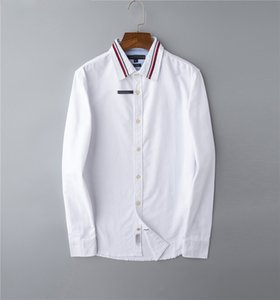 Men's top pony quality embroidery shirt shirt long sleeve solid color slim casual business clothing long sleeve shirt