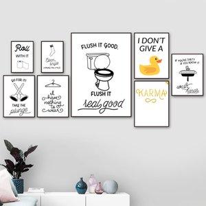 Tuvalet Kağıdı Tuvalet Lavabo Çorap Tırnaklar Duck Wall Art Kanvas Banyo Dekor İçin İskandinav Posterler Ve Baskılar Duvar Resimleri Boyama