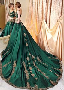 Hunter Green Dubai Kaftan Evening Dresses Gold Lace Appliques A Line Two Pieces Prom Dresses African Party Gowns Wear