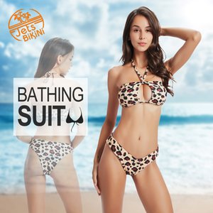 Jetsbikini Women's 2 Pieces Leopard Bikini Set Sexy Padded Keyhole Halter Top and Thong Slimming Bathing Suits - S M L XL
