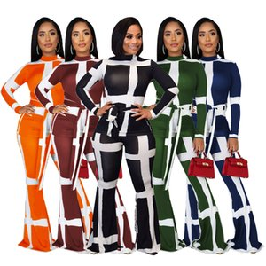 Spot 2020 explosion models women's suits autumn fashion suits striped lace-up flared pants two-piece women, support mixed batch