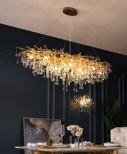 Nordic Luxury Gold Crystal LED Chandelier LOFT Large Lustre Hanging Lamp Living Room Hotel Hall Art indoor Chandelier Lighting Free shipping