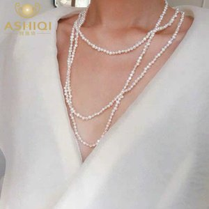ASHIQI 160 cm Long Natural Freshwater Pearl Necklace For Woman Gift Multiple Ways of Wearing Sweater Chain Jewelry 2020