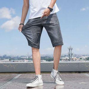 Denim Shorts Mens Big Size 34 36 Washed Short Half Pant Knee Length Large Loose Bermuda Male Plus Blue Short Jeans Men Breeches