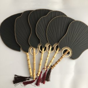 Preto DIY Vintage Handle em branco Fan tradicional papel de arroz Craft Fan Mão chinês Bamboo Root Lanterna Begonia Banana Fan Rodada
