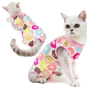 Мультфильм печати дышащий Cat Хирургическая восстановления костюм Pet кошки Стерилизация костюм хирургии Wear Анти лижет Раны одежда будет и песчаное подарок