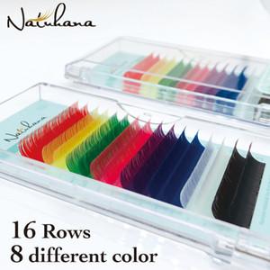 NATUHANA 16lines Mix Cor pestana Extensão Individual Mink falsificados colorido arco-íris cílios naturais macio colorido Lashes falsos