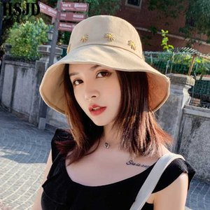 Flower Embroidery Cotton Bucket Hats Women Summer Sun Hat Fisherman Cap Wide Brim Foldable Outdoor Travel Female Hiking Bonnet