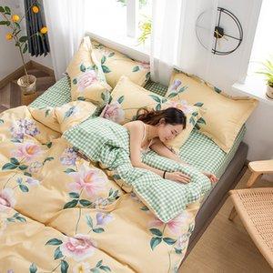 Комплект постельных принадлежностей класса люкс Цветы пододеяльник Установить Лаки Клевер и Plaid Реверсивный Постельное белье Luxury Home Textile