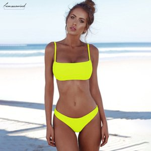 Summer New Sexy 2 Pieces Solid Color Bikini Beach Triangle Swimsuit Swimming Vacation Beach Drop Shipping