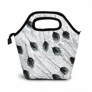 Эму перо обед мешок обед / Ледовые сумки Портативный Изолированный Пикник Box Для женщин Для мужчин PBFY #