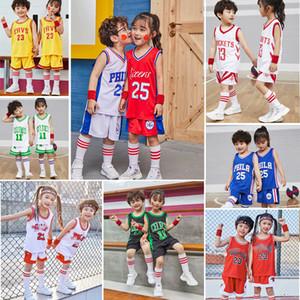 2020 Children Youth Basketball Jerseys Uniforms Sports Clothes Kids Blank Basketball Sets Kits Breathable Boys Girls Training Shorts Sets