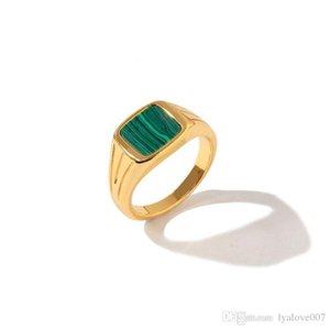Titanium Steel Fashion New Green Malachite Ring Temperament Beautiful For Women Charm Love Ring Jewelry
