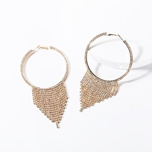 Exaggerated big circle acrylic diamond tassel earrings women's fashion full diamond Super Fairy earrings fashion fantasy style
