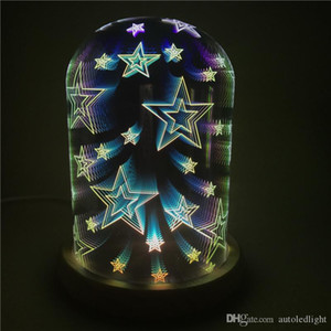 3D glass cover magic lights tree silver flower LED bedside bedroom decoration table lamp starry lamp creative night light