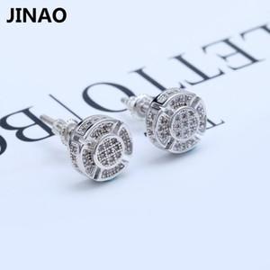 Jinao New Men CZ Ouro Cor Prata Rodada brincos de strass Cristal Mulheres Moda Hip Hop Jewelry