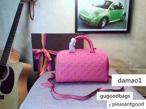 M42406 Speedy Strap Pink Flowers Printing Embossed Hobo Handbags Top Handles Boston Cross Body Messenger Shoulder Bags