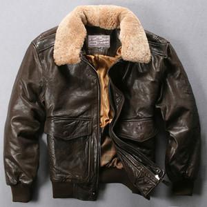 Vuelo Avirex fuerza aérea Fly Chaqueta cuello de piel chaqueta de cuero genuino capa de los hombres de Brown Negro de piel de oveja de invierno chaqueta de bombardero masculino T200723