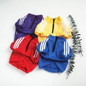 Summer Stripe Pet Red Blue Designer 2020 Hot Sale Dog Hoodies Fashion Stitching Designs Pet Hoodies With Letter Print