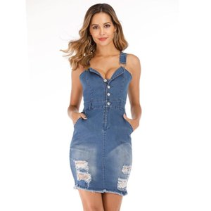 Women sexy sleeveless button pocket hole bodycon denim sundress sukienka robe en jean ete femme Fashion streetwear jeans dress