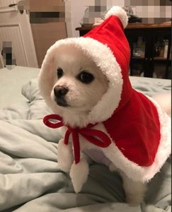 Christmas Supplies Pet Dog Red Hooded Cloak Cape Fashion Dog Cat Puppy Shawl Costumes With Hat Coat Santa Claus Clothes Gift Pet Epacket