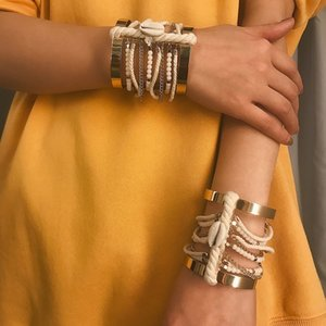 Punk Shell Cuff Bracelets Multilayer Charm Open Bangle Vintage Rope Wrap Ethnic Wide Bangles Boho Beach Chunky Bracelet Statement Jewelry