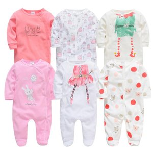 2020 6Pcs 3PCS Baby Girls Rompers Long Sleeve Cute Summer Baby Clothes Cotton Newborn 0-12 months roupa de Jumpsuit Outwear