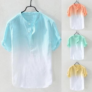 Hommes Mode Cool Summer et col respirante mince Hanging surteints coton Chemises Homme Hauts Respirant