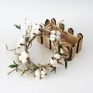 Cotton Boll Wreath Brich Tree Branch Home Decor Indoor Decoration Wall Wreath Candle Ring Christmas Gifts Artificial Pip Berry