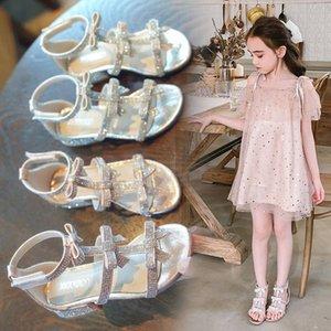 ytjif Girls' sandals 2020 new fashion medium and large children's baby princess children's high-heeled shoes Rome Web High-heeled shoes Sand