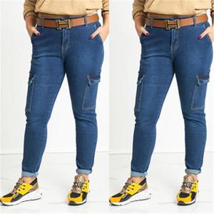 Moda Mavi Renk Slide kalem pantolon 20ss Yeni Kadınlar Uzun Pantolon Casual Kadınlar Designer Jeans Cepler