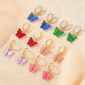 New nette Kristalltropfen-Ohrringe für Frauen Schmetterlings-Ohrring böhmischen langen Partei-Acryl baumeln Ohrringe
