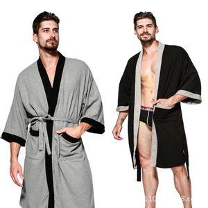 Мужское Nightgown Пижама с длинными рукавами Solid Color V-образный вырез Халат Потом Сауна Ванна Полотенцем Hot Spring Мужских сорочков