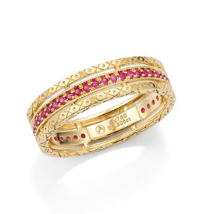 New Luxury Baroque Ruby  Sapphire  Diamond 18K Solid Real Genuine Gold AU750 Rings for Women Upscale Vintage Gemstone Jewelry T200713