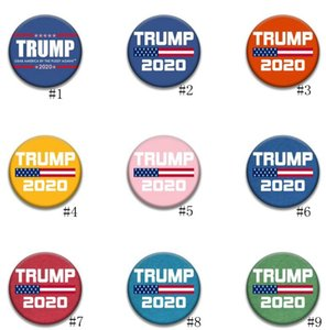 Donald Trump Brooch Pins 2020 America President Election Badges Metal Armband Round Brooches For Coat Decoration Party Favor GGA3450-3