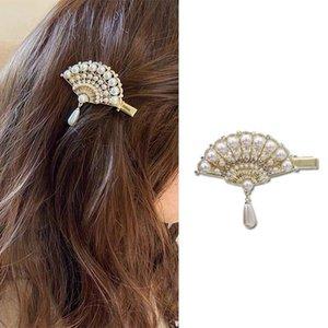 Women Hairpins Pearl Vintage Fan Tassel Hair Clips Bobby Pins Side Bangs Clips Barrettes Headwear Fashion Hair Jewelry Gifts Accessories New