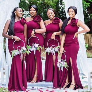 Modest Grape Mermaid Bridesmaid Dresses One Shoulder Handmade Flower Side Split Plus Size Wedding Guest Dress Long Maid Of The Honor