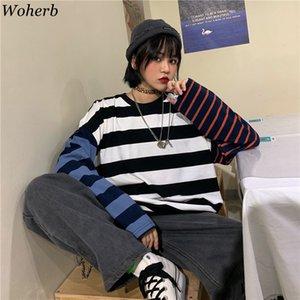 Woherb surdimensionné manches longues en coton T-shirt Contraste d'impression à rayures T-shirts femme et homme Automne 2020 Streetwear Harajuku T-shirts MX200721