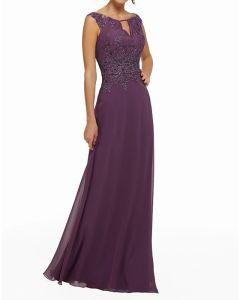 Sheath   Column Elegant Purple Guest Formal Evening Dress Jewel Neck Sleeveless Floor Length Chiffon with Beading Appliques