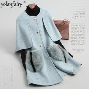 Sonbahar Kış Ceket Kadınlar Gerçek Kürk Cep Yün Coat Kore Çift taraflı Yün Coat Cloak Pembe Ceket X841800DMP81032 MY1909