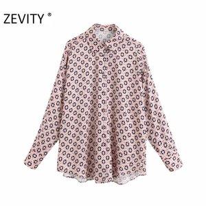 ZEVITY Новых женщин старинная геометрические печатей случайной халата блузка рубашка женщины с длинным рукавом Шикарного blusas бизнес femininas вершиной LS7050
