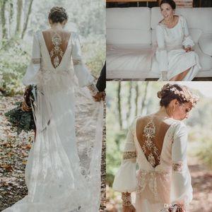 Vintage Boho Loose Long Sleeve Sheath Wedding Dresses 2021 Amazing Lace Back Custom Make Country Bohemian Bridal Wedding Gown