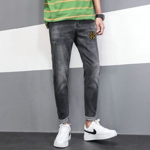 2020 Mens Badge Rips Stretch Black Jeans Fashion Slim Fit Washed Motocycle Denim Pants Panelled Hip HOP Trousers