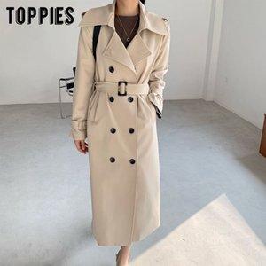 Toppies 2020 nuovo arrivo Cappotto lungo donne Doppio Petto Slim Trench Coat coreano
