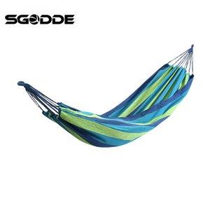 SGODDE 190 * 150 centímetros 120 kg dobro azul Camping Outdoor Leisure malha Hammock Cotton pendurados corda